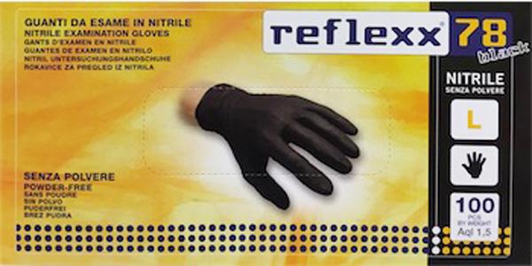 GUANTI DA ESAME IN NITRILE NERI REFLEXX 78 PROFESSIONALI 100 pz TAGLIA L 16bf47ca6252