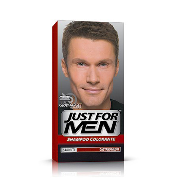 JUST FOR MEN SHAMPOO COLORANTE 5 MINUTI CASTANO MEDIO H-35 COPRE CAPELLI GRIGI