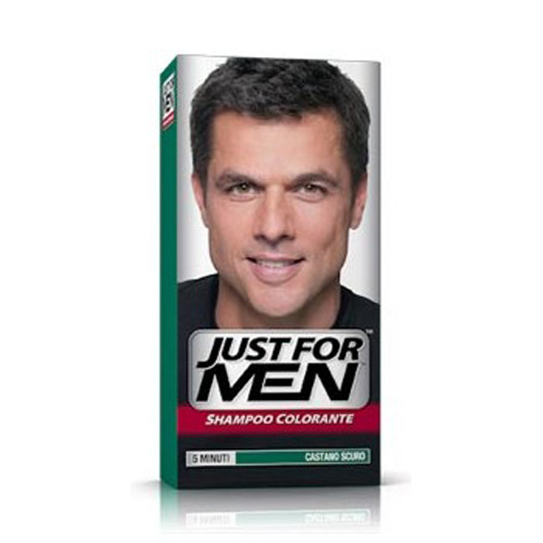 JUST FOR MEN SHAMPOO COLORANTE 5 MINUTI CASTANO SCURO H-45 COPRE CAPELLI GRIGI