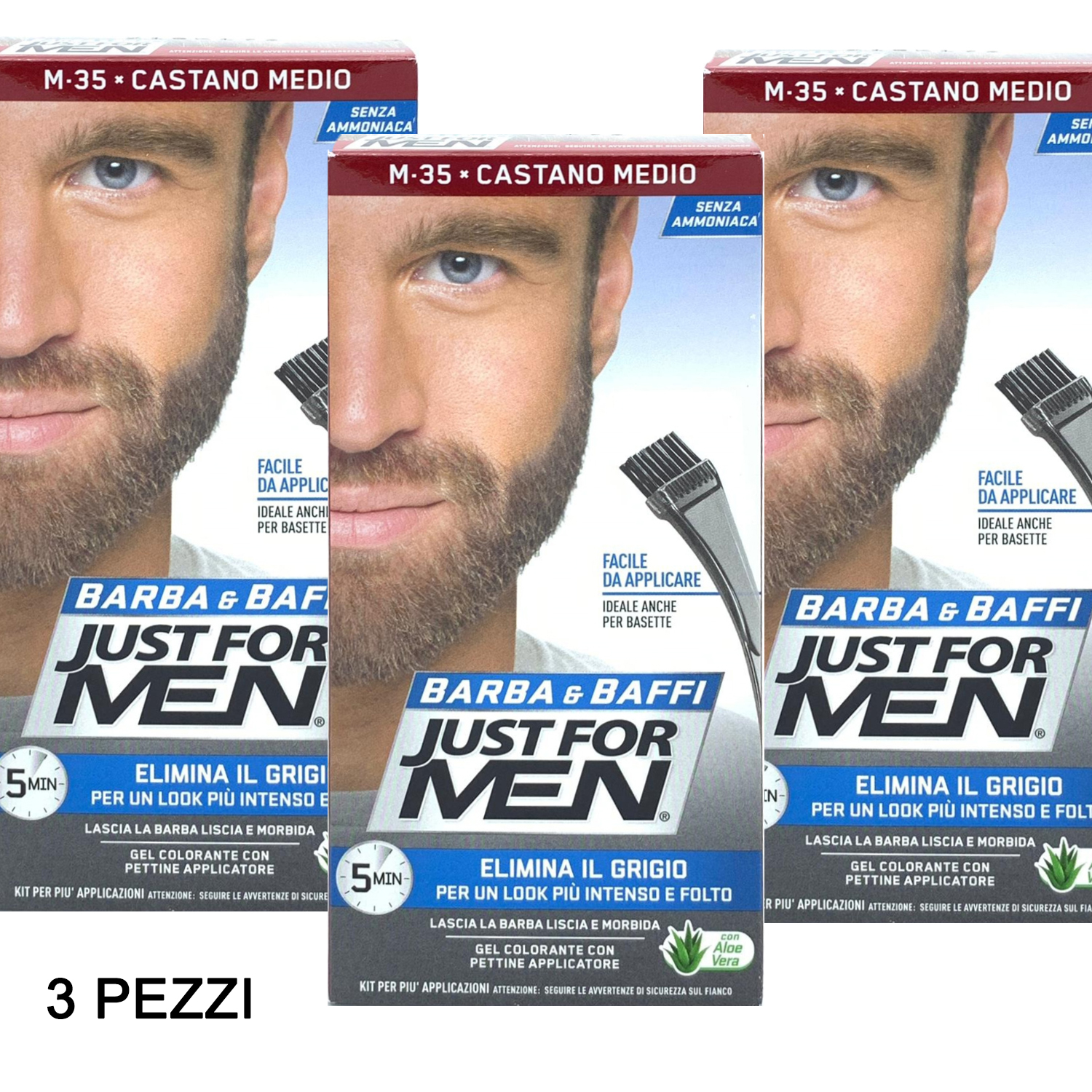 3 X JUST FOR MEN BARBA E BAFFI COLORE TINTURA PERMANENTE CON PENNELLO SENZA AMMONIACA CASTANO MEDIO M-35 2X 14 ML GEL COLORANTE