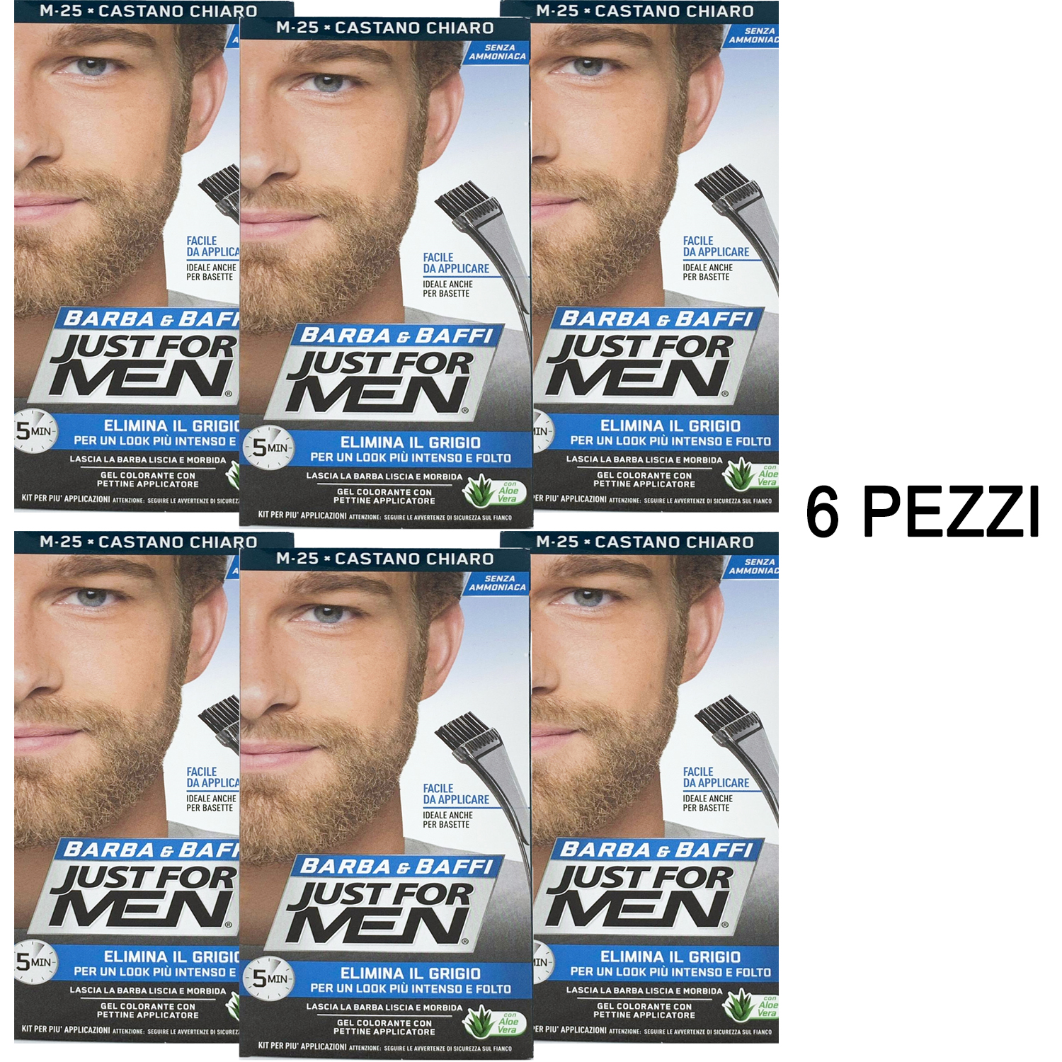 6 X JUST FOR MEN BARBA E BAFFI COLORE TINTURA UOMO PERMANENTE CON PENNELLO SENZA AMMONIACA CASTANO CHIARO M 25 2X 14 ML GEL COLORANTE