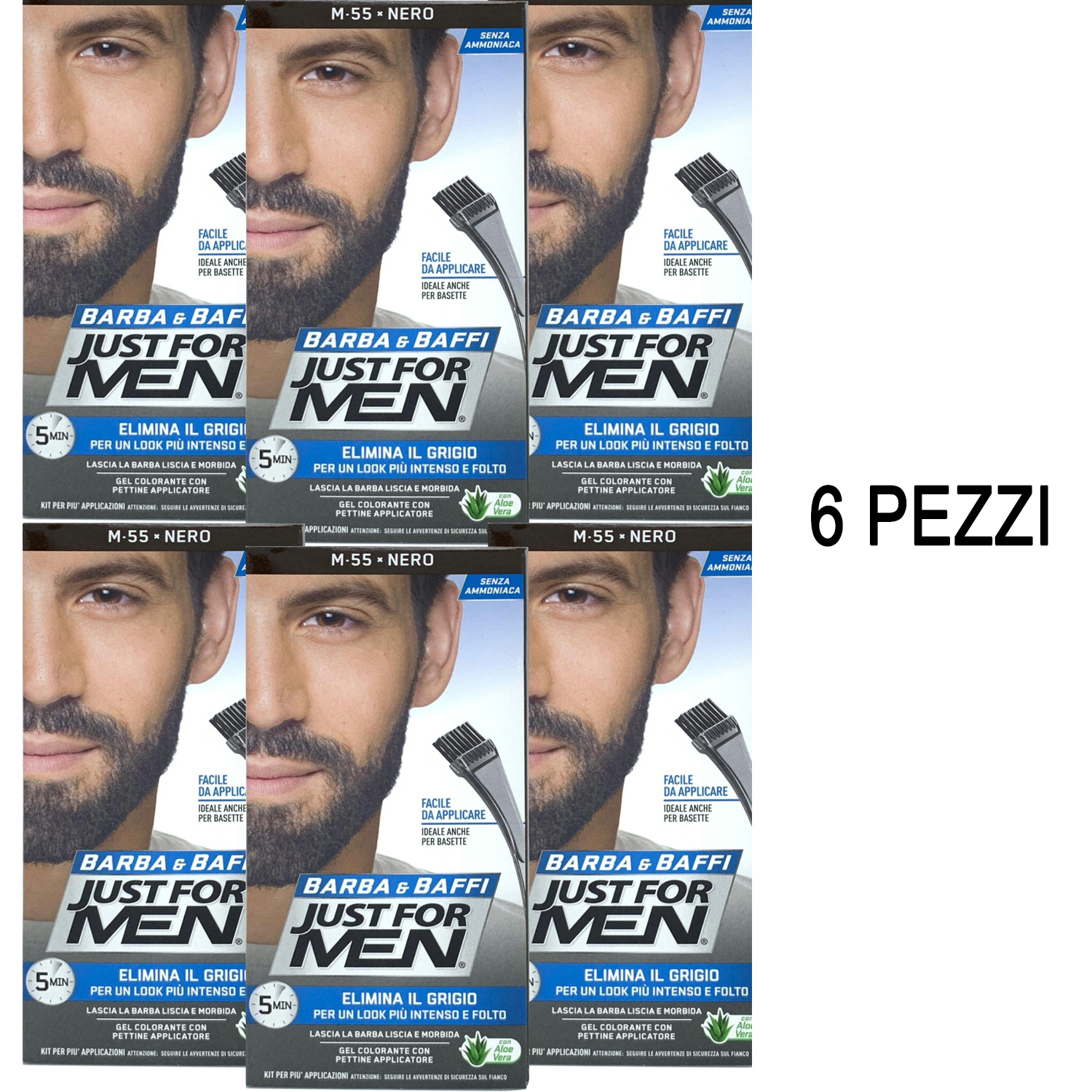 6 X JUST FOR MEN BARBA E BAFFI COLORE TINTURA PERMANENTE CON PENNELLO NERO M 55 GEL COLORANTE 2 X 14g