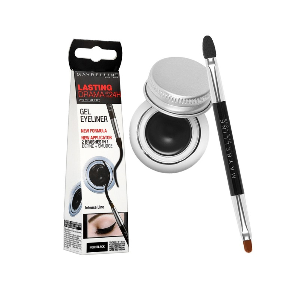 MAYBELLINE EYELINER IN GEL CON APPLICATORE DI PRECISIONE 2 IN 1 NERO 24H