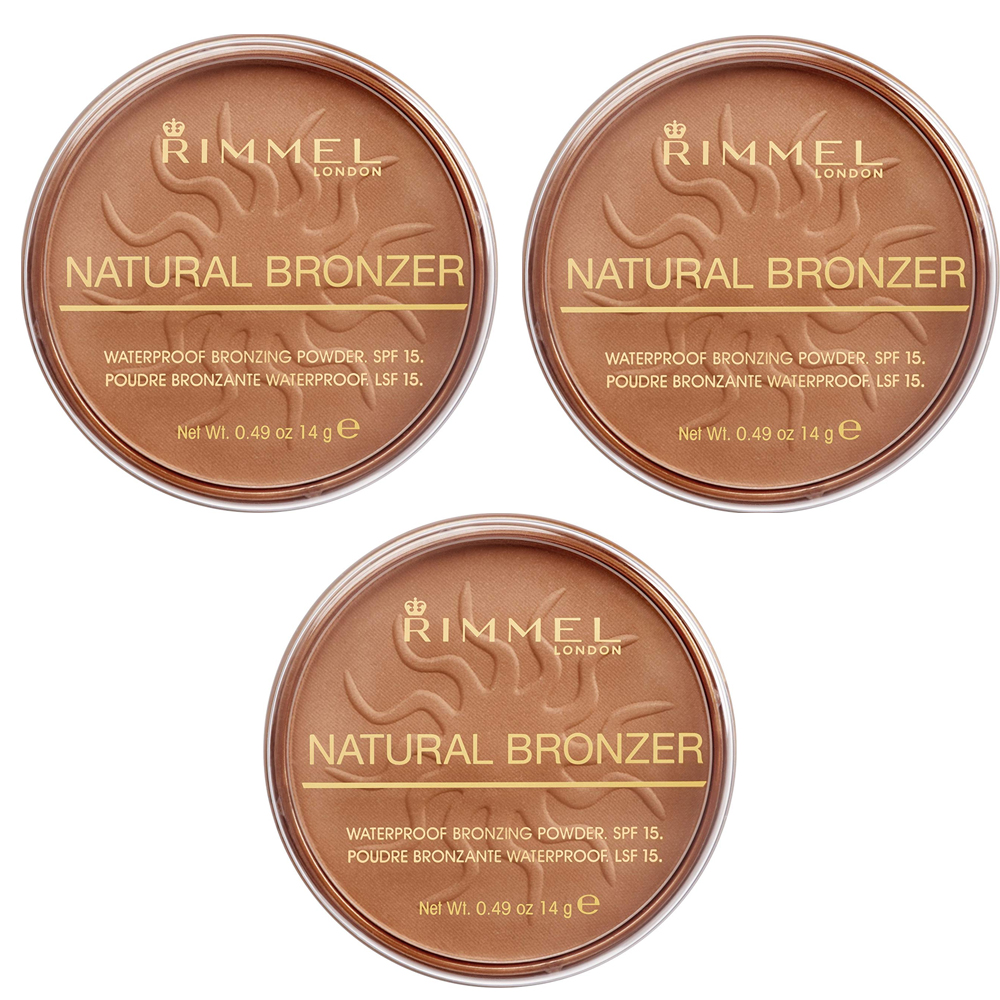 RIMMEL NATURAL BRONZER TERRA ABBRONZANTE WATERPROOF SPF 15 021 SUN LIGHT 3 PZ 14 G