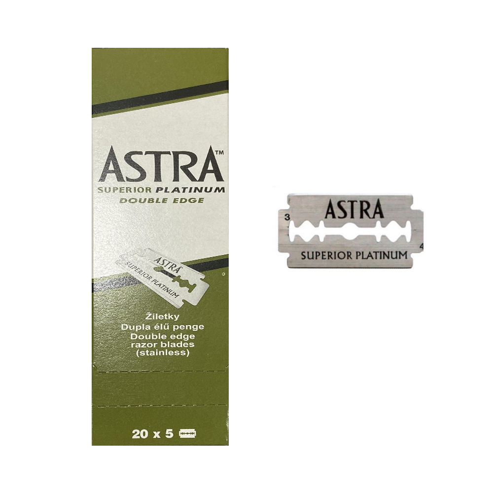 ASTRA SUPERIOR PLATINUM DOUBLE EDGE LAME IN ACCIAIO DA BARBA PROFESSIONALE 20X5 LAME