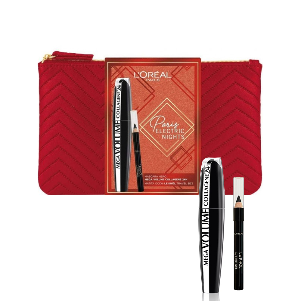 L'OREAL SET PARIS ELECTRIC NIGHTS MASCARA NERO MEGA VOLUME COLLAGENE 24H MATITA OCCHI LE KHOL POCHETTE ROSSA