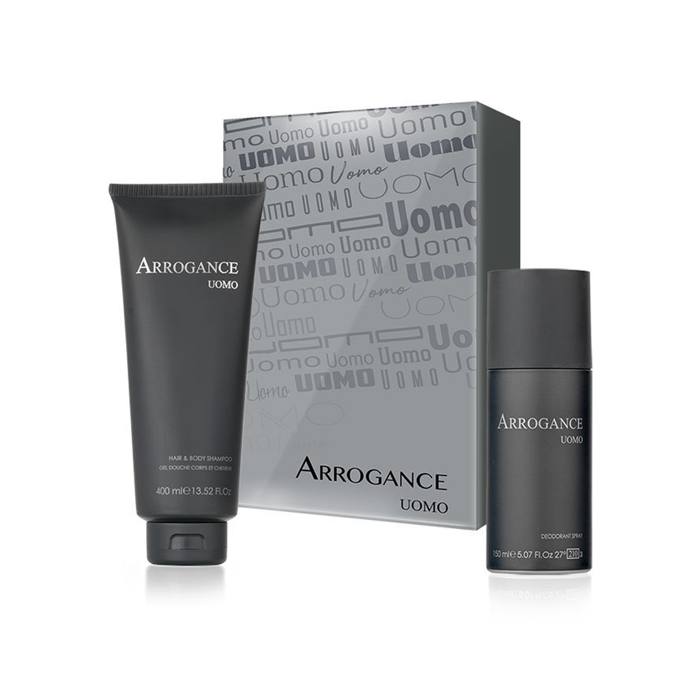 ARROGANCE UOMO SET HAIR E BODY SHAMPOO 400ML DEODORANTE PROFUMATO 150 ML