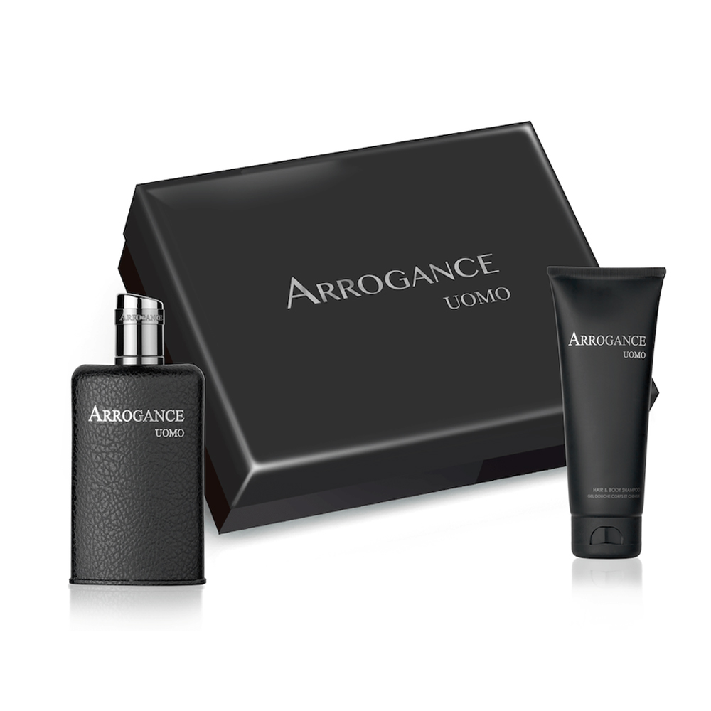 ARROGANCE UOMO SET PROFUMO UOMO EDT EAU DE TOILETTE 50 ML HAIR E BODY SHAMPOO 100 ML