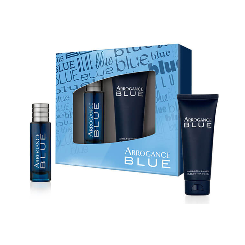ARROGANCE BLUE SET PROFUMO UOMO EDT EAU DE TOILETTE 30 ML HAIR E BODY SHAMPOO 100ML