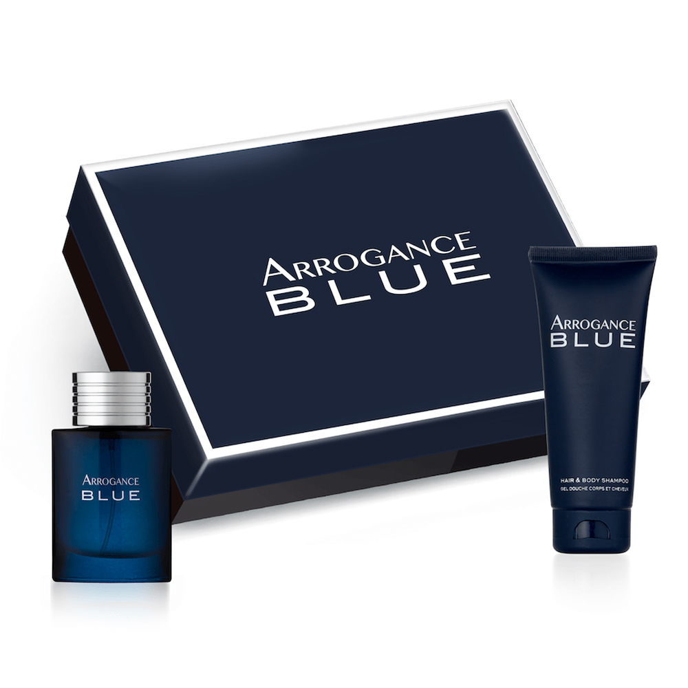 ARROGANCE BLUE SET PROFUMO UOMO EDT EAU DE TOILETTE 50 ML HAIR E BODY SHAMPOO 100 ML