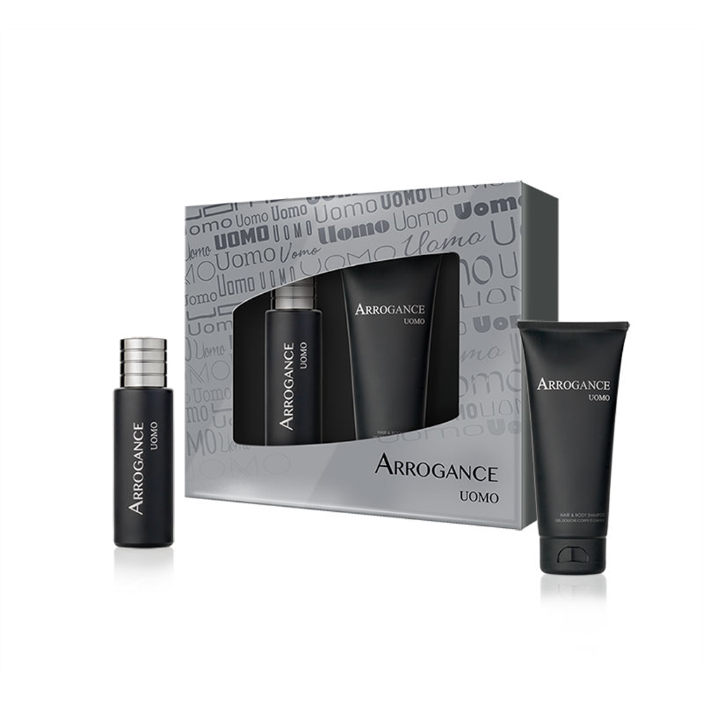 ARROGANCE UOMO SET PROFUMO EDT EAU DE TOILETTE 30 ML E BODY HAIR SHAMPOO 100 ML