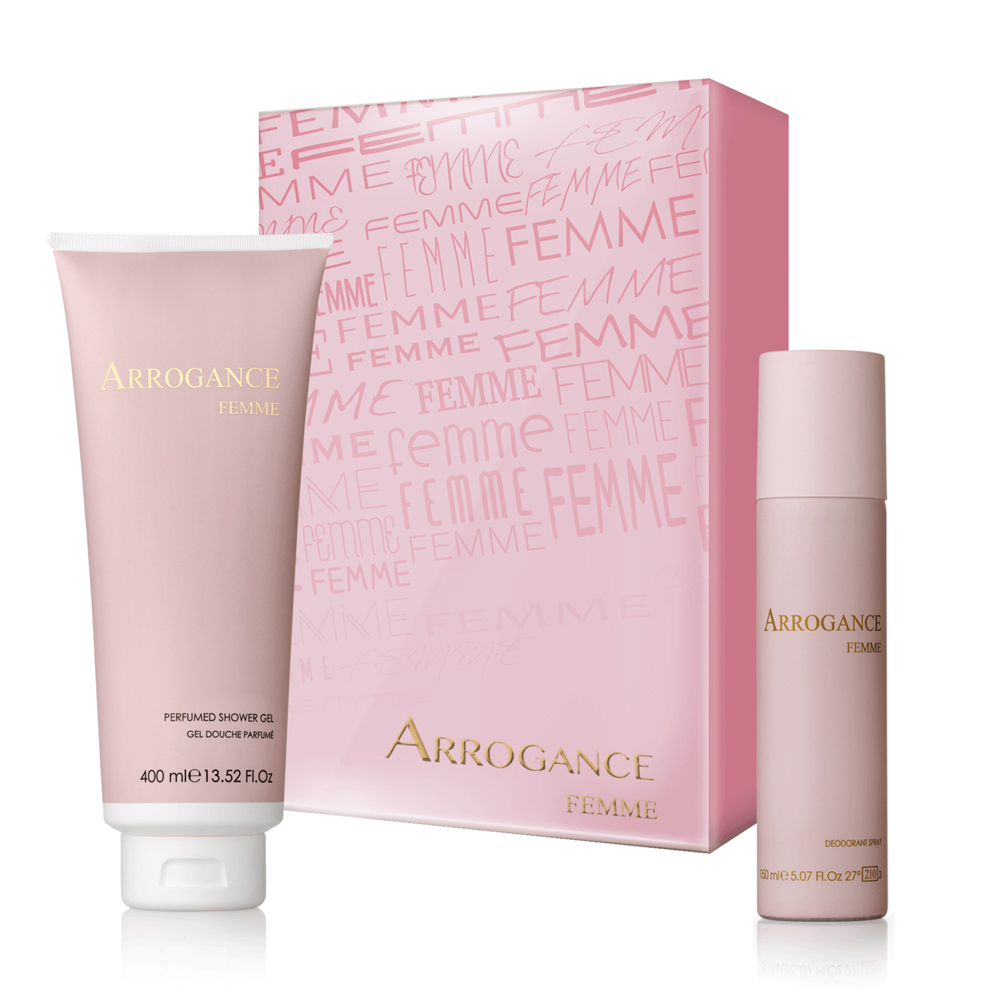 ARROGANCE FEMME SET DONNA GEL DOCCIA 400 ML DEODORANTE SPRAY 150 ML