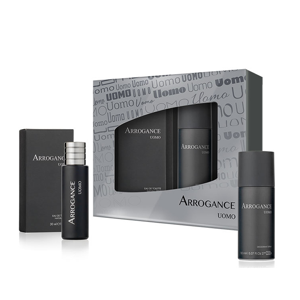ARROGANCE UOMO SET PROFUMO EDT EAU DE TOILETTE 30ML NATURAL SPRAY DEODORANTE SPRAY 150 ML