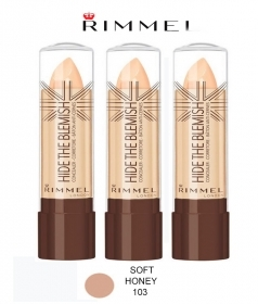 3 X RIMMEL HIDE THE BLEMISH CORRETTORE IN STICK 4,5g COLORE 103 SOFT HONEY