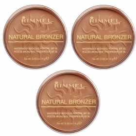 Rimmel Natural Bronzer Terra Abbronzante Waterproof Sun Light Spf 15 021 3x 14 Gr