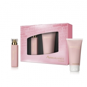 ARROGANCE FEMME SET PROFUMO DONNA EDT EAU DE TOILETTE NATURAL SPRAY 30 ML LATTE PROFUMATO CORPO 100ML