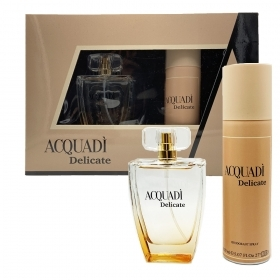 AQUADI DELICATE SET PROFUMO DONNA EDT EAU DE TOILETTE NATURAL SPRAY 100 ML DEODORANTE 150ML INSPIRATO CLOE